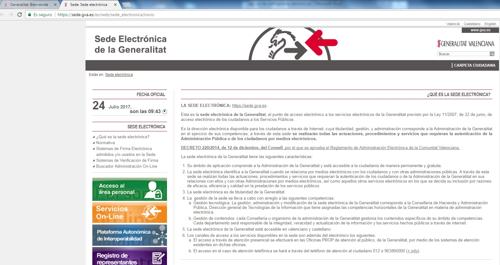 Sede electrónica de la Generalitat