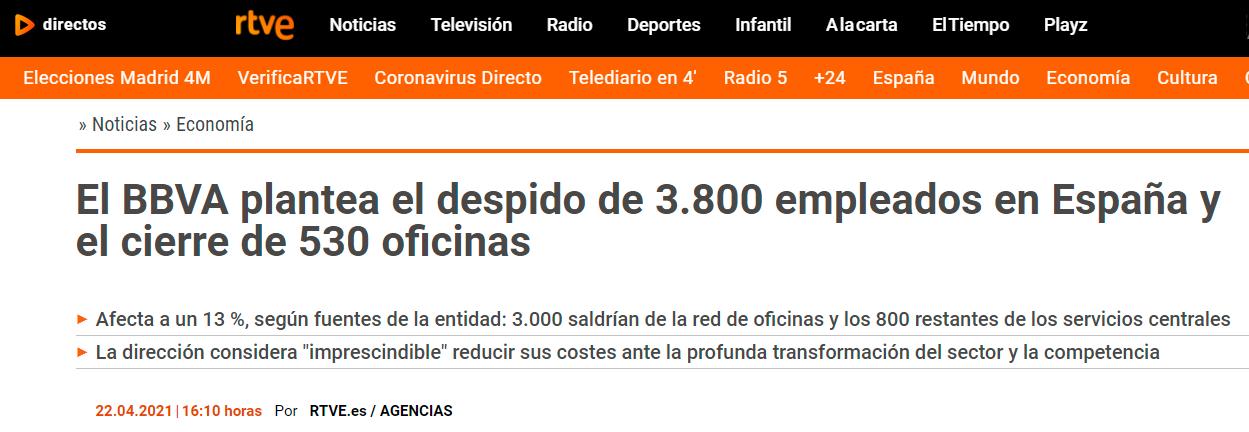 El BBVA plantea el despido de 3800 empleados