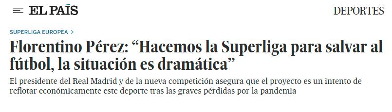 Florentino Pérez: Hacemos la Superliga para salvar al fútbol, la situación es dramática